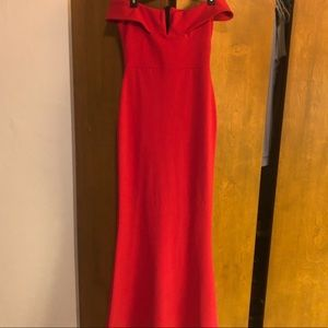 Red off the shoulder gown